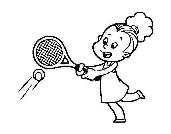 Desenho de Menina jogando o tênis para Colorir