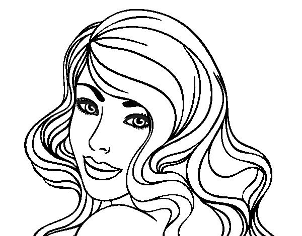 Imagen De Una Silueta De Una Mujer Para Colorear: Desenho De Menina Jovem Para Colorir