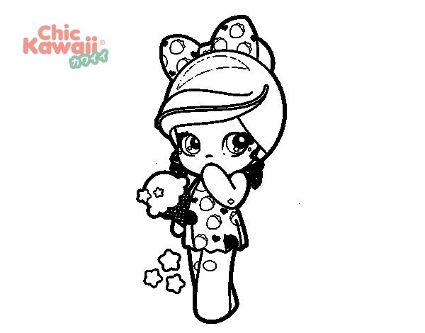 Desenhos Kawaii Para Colorir: Desenho De Menina Kawaii Com Sorvete Para Colorir
