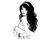 Desenho de Menina morena para colorear