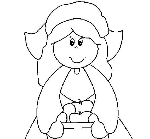 Desenho de Menina peregrina para Colorir