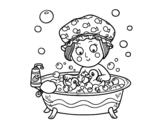 Desenho de Menina toma um banho para colorear