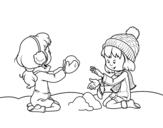Desenho de Meninas que jogam com neve para colorear