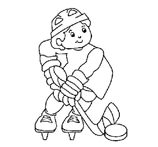 Desenho de Menino a jogar hoquei para Colorir