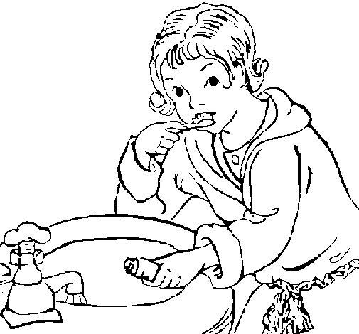 Desenho de Menino a lavar os seus dentes para Colorir