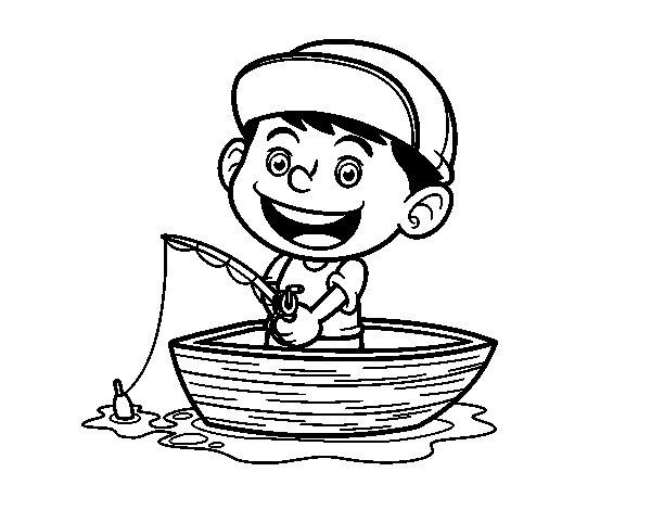 Desenho de Menino a pescar para Colorir