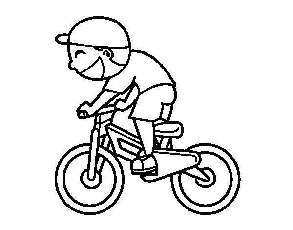 Desenho de Menino ciclista para Colorir