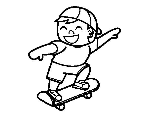 Desenho de Menino com skate para Colorir