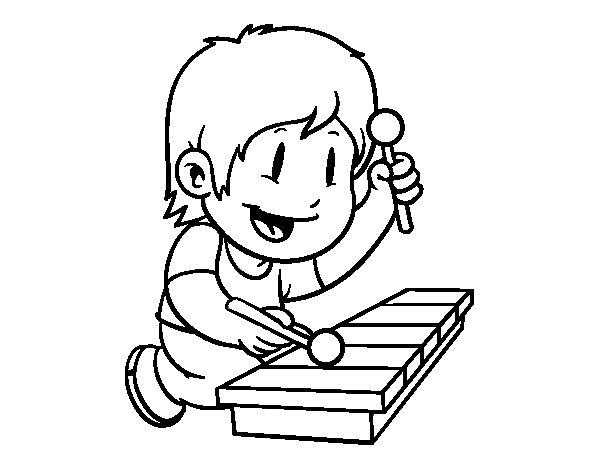 Desenho de Menino com xilofone para Colorir