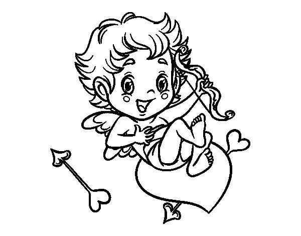 Desenho de Menino Cupido para Colorir