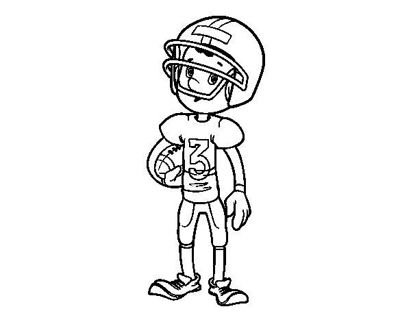 Desenho de Menino jogador de râguebi para Colorir