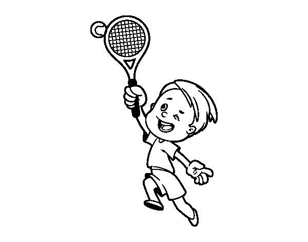 Desenho de Menino jogando o tênis para Colorir