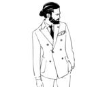Desenho de Menino moderno com terno para colorear