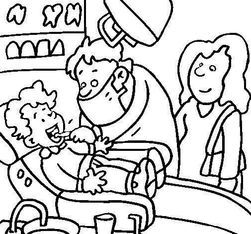 Desenho de Menino no dentista para Colorir