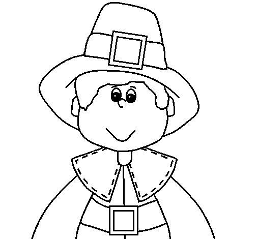Desenho de Menino peregrino para Colorir
