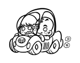 Dibujo de Meninos conduzindo