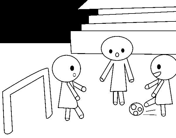 Desenho de Meninos jogando futebol para Colorir