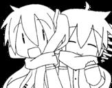 Desenho de Miku e Len com cachecol para colorear