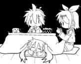 Desenho de Miku, Rin e Len-almoço para colorear