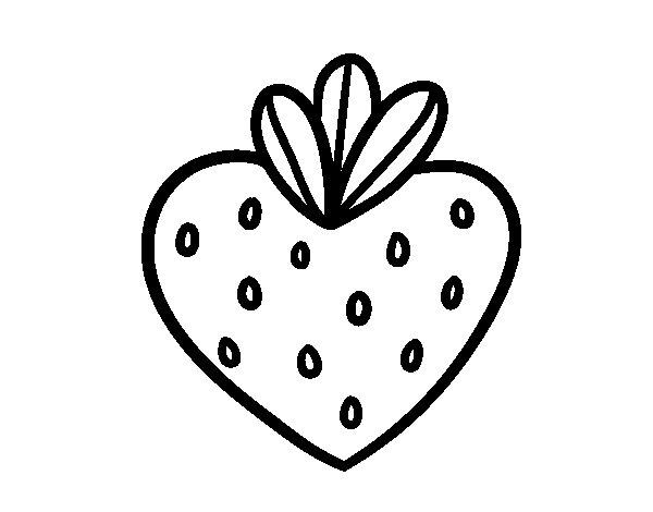 Desenho de Morango coração para Colorir