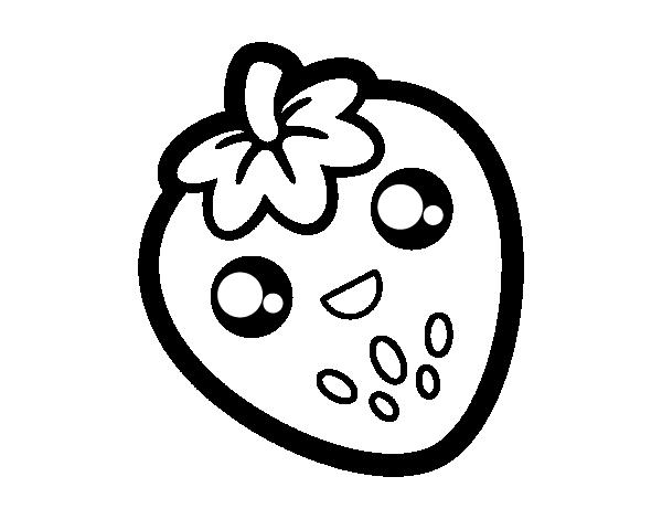 Desenho de Morango feliz para Colorir