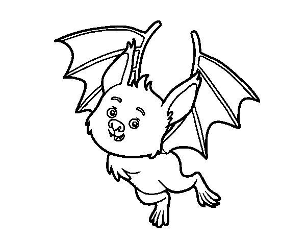 Desenho de Morcego simpático para Colorir