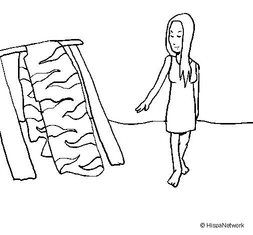 Desenho de Mulher a secar a pele para Colorir