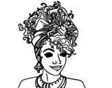 Desenho de Mulher africana para colorear