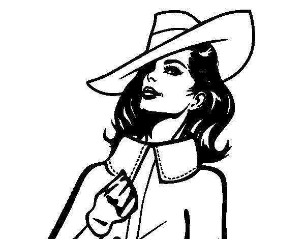 Enmarcado sombrero dama imprimir vintage