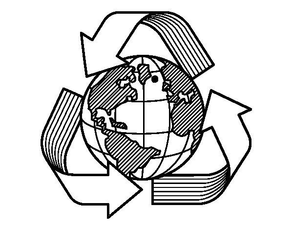 Desenho de Mundo reciclagem para Colorir