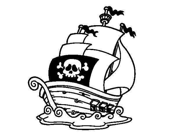 Desenho de Navio de piratas para Colorir