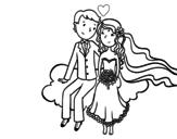 Desenho de Newlyweds em uma nuvem para colorear