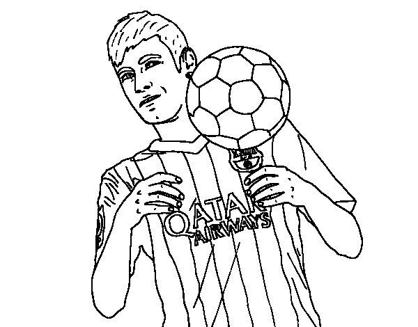 Desenho de Neymar Barça para Colorir