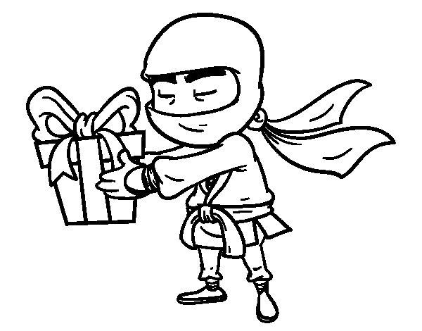 Desenho de Ninja com um presente para Colorir