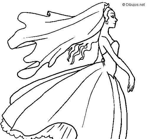 Desenho de Noiva para Colorir