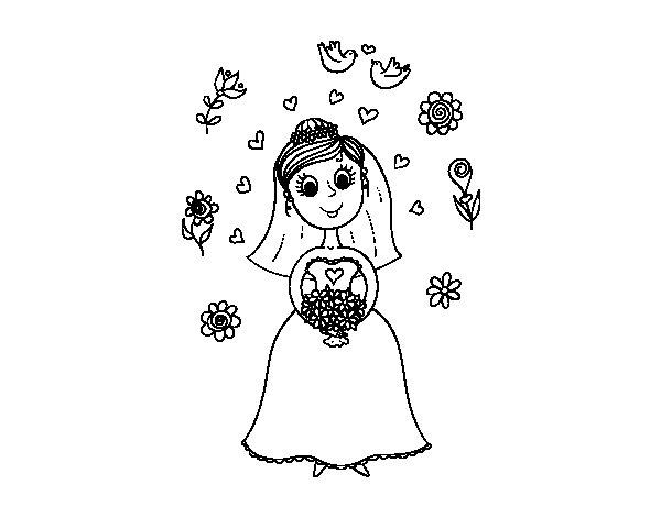 Desenho de Noiva com flores para Colorir