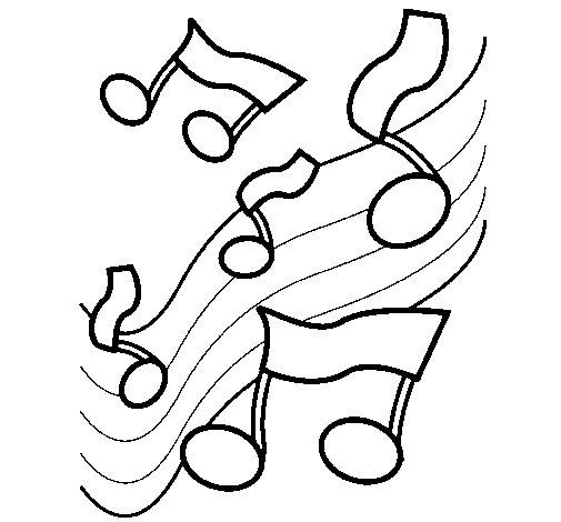 Desenho de Notas na escala musical para Colorir