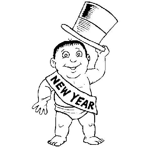 Desenho de Novo ano para Colorir