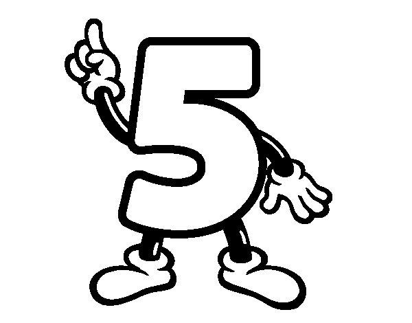Desenho de Número 5 para Colorir