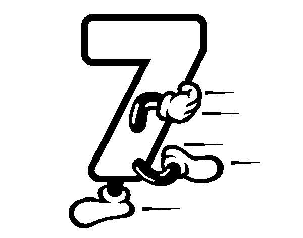 Desenho de Número 7 para Colorir