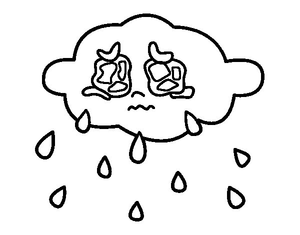 Desenho de Nuvem chorando para Colorir