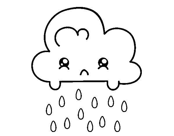 Desenho de Nuvem Kawaii para Colorir
