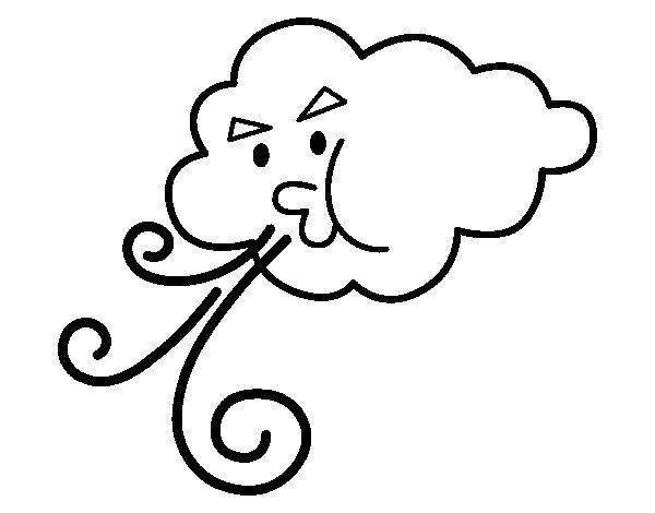 Desenho de Nuvem soprando para Colorir