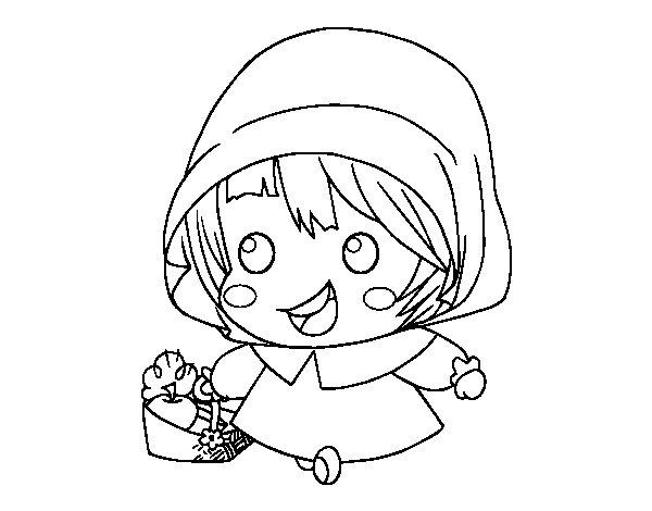 Desenho de O Capuchinho Vermelho para Colorir
