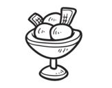 Desenho de O copo com três bolas de sorvete para colorear