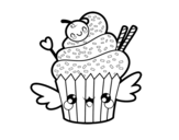 Desenho de O Cupcake kawaii para colorear
