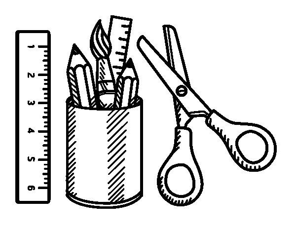 Desenho de O material escolar para Colorir