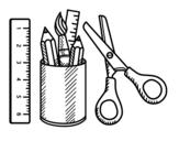 Desenho de O material escolar para colorear