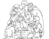 Desenho de O nascimento de jesus para colorear