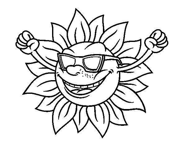 Desenho de O sol com óculos de sol para Colorir